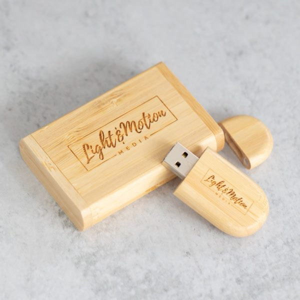Bamboo Oval Flash Drive + Bamboo Flip Box Studio Essential Bundle