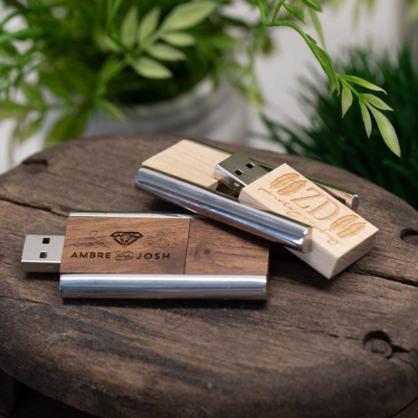 Customizable Industrial Wood Flash Drive PhotoFlashDrive