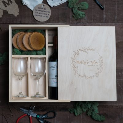 Rustic Wood Slide Wine Box Set