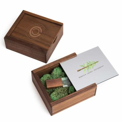 PhotoFlashDrive Walnut Slide Flash Box