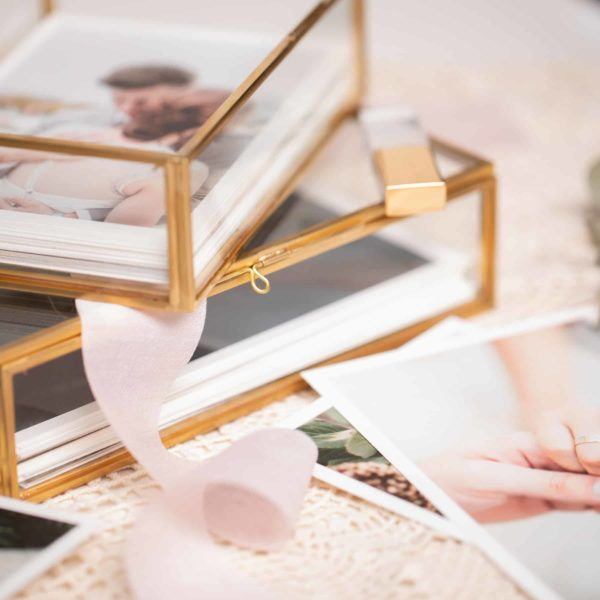 Glass Photo Box Gold