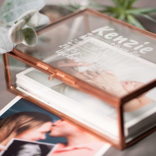 Glass Photo Box Rose Gold