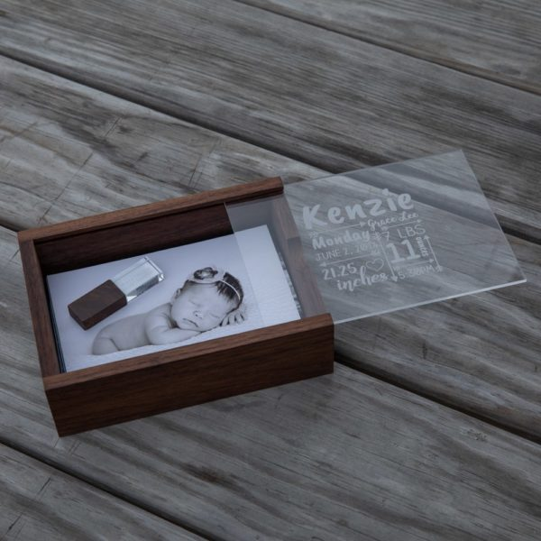 Walnut Wood Slide Print Box