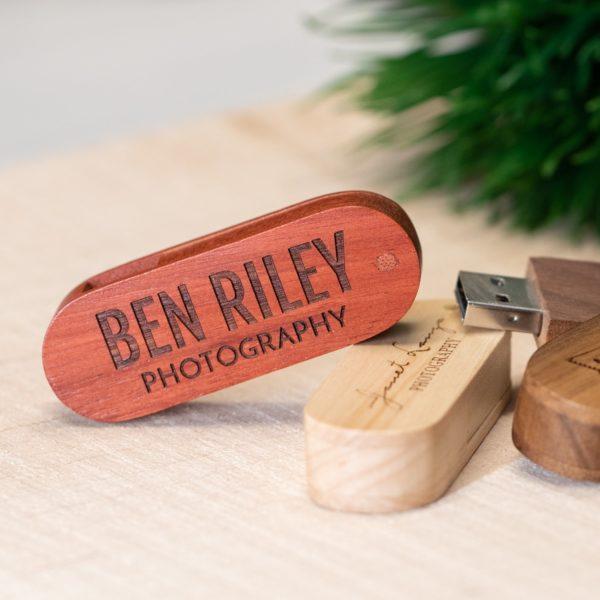 Wood Swivel USB Flash Drive