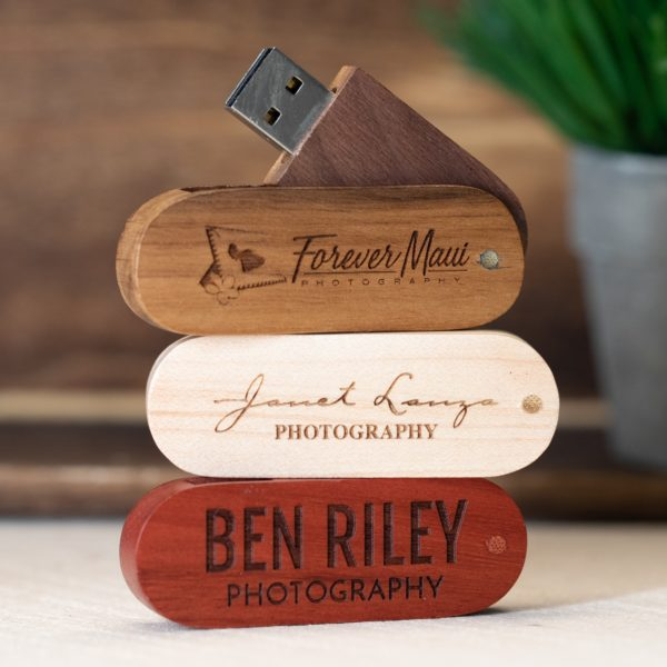 Wood Swivel Flash Drive