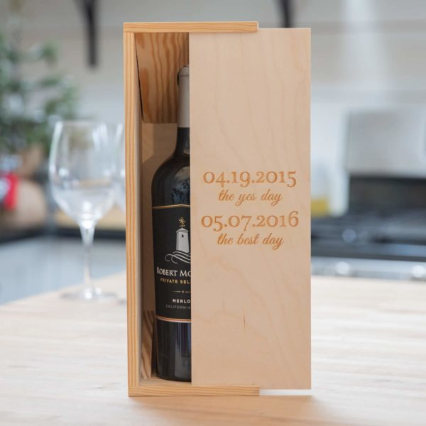 Rustic Wood Slide Wine Box