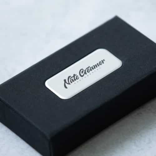 Linen Flash Drive Box With Plate