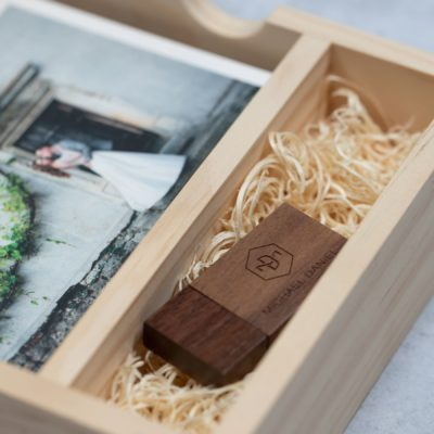 Rustic Wood Slide Photo + Flash Box