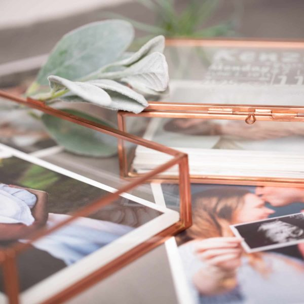 Rose Gold Glass Photo Box