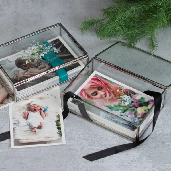 Silver Glass Photo Box